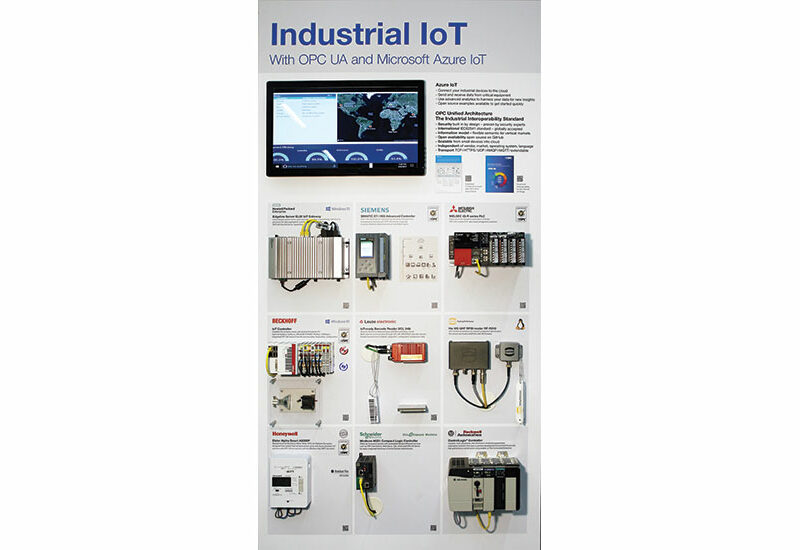"Microsoft and the OPC Foundation demonstrate their Azure Industrial IoT with OPC UA-enabled ""walls"" in their International Technology Centers.  Participating industrial suppliers include Honeywell, Mitsubishi, Rockwell, Siemens, Schneider, Beckhoff, Harting and Leuze - all interoperable with Microsoft ""Connected Factory."""